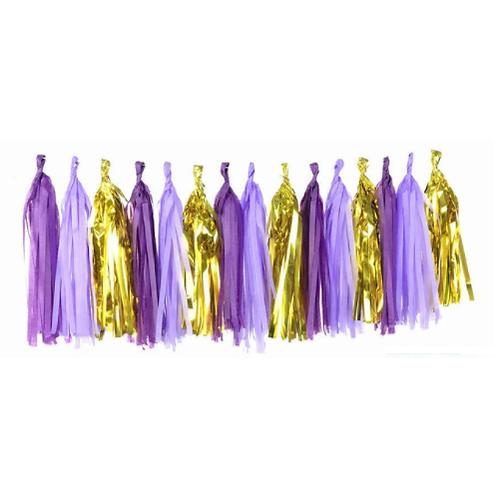 DIY Tasselslinger paars goud (15x)