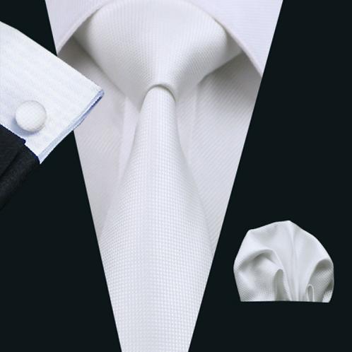 Stropdas set met pochet en manchetknopen wit