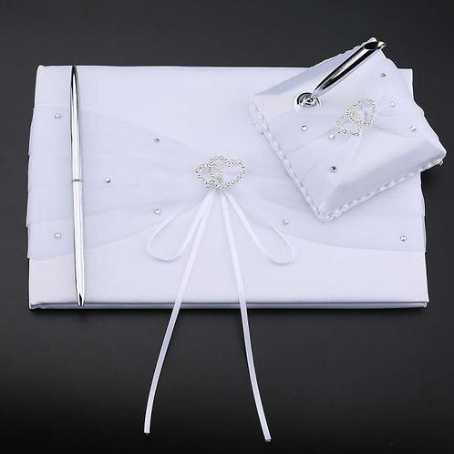 Gastenboek satijn dubbele hart diamant inclusief pen en houder