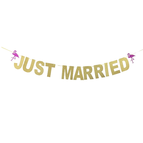 Just Married Flamingo slinger glitter goud