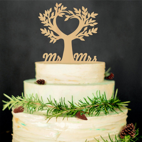 Bruidstaart topper Mr & Mrs love tree