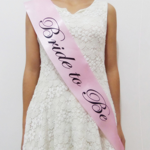 Bride to be satijnen sjerp roze/zwart