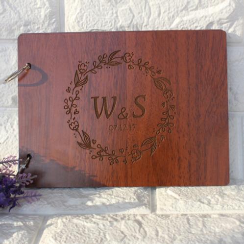 Gastenboek hout personaliseerbaar