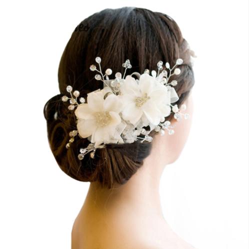 Haaraccessoire beautiful flowers wit