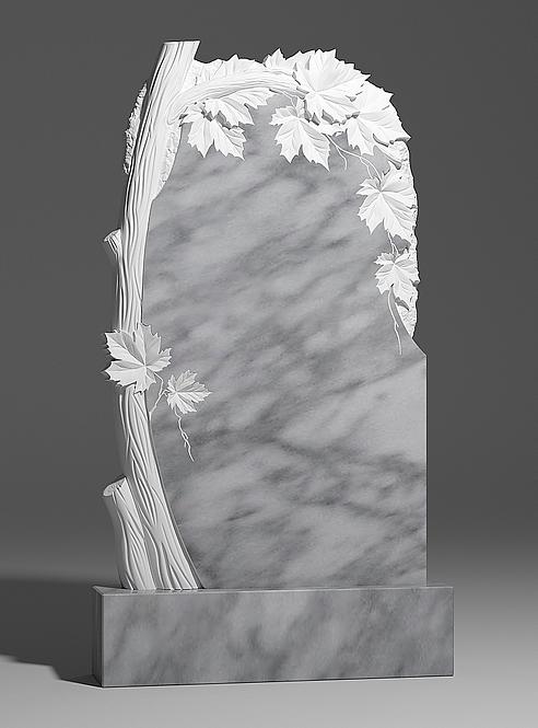 Памятник из уфалейского мрамора с клёном