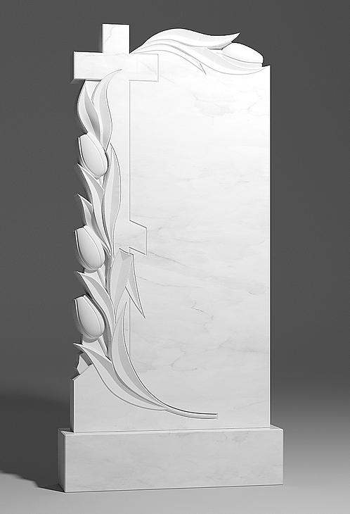Памятник из белого мрамора с крестом и тюльпанами