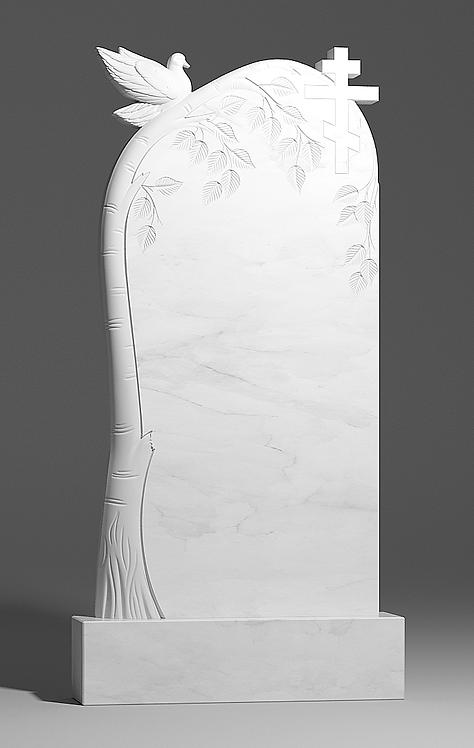 Памятник из белого мрамора с березкой и голубем