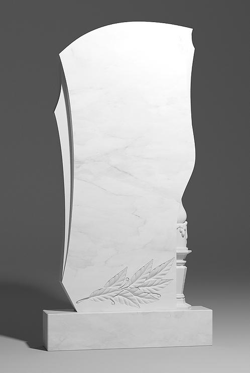 Фигурный памятник из белого мрамора со свечёй