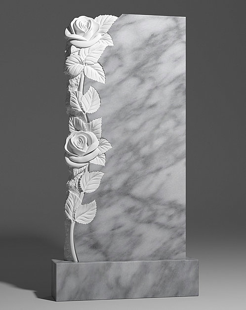 Памятник из уфалейского мрамора с розами слева
