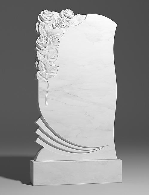 Фигурный памятник из белого мрамора с двумя розами