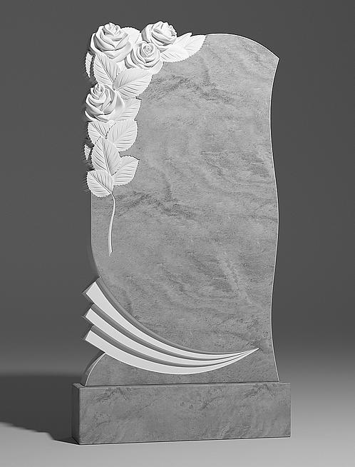 Фигурный памятник из мрамора с двумя розами