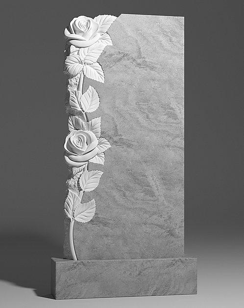 Памятник из мрамора с розами слева