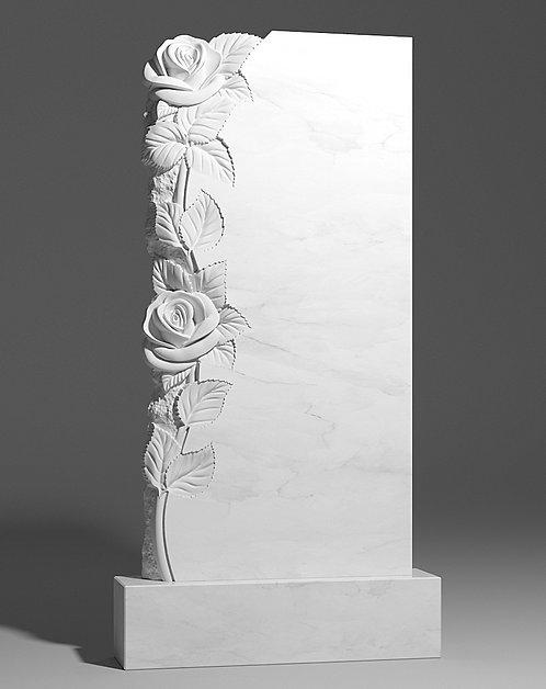 Памятник из белого мрамора с розами слева