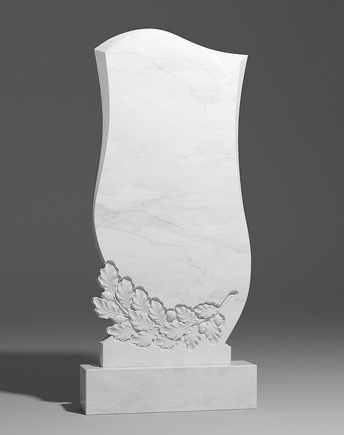 Фигурный памятник из белого мрамора с дубовой ветвью