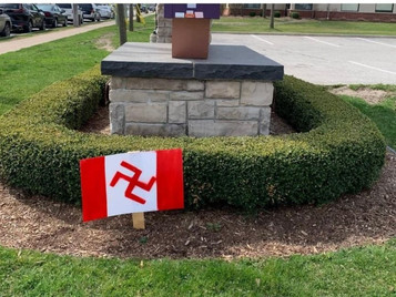 Canadian Flag design Swastika planted in front of Windsor hospital this past week