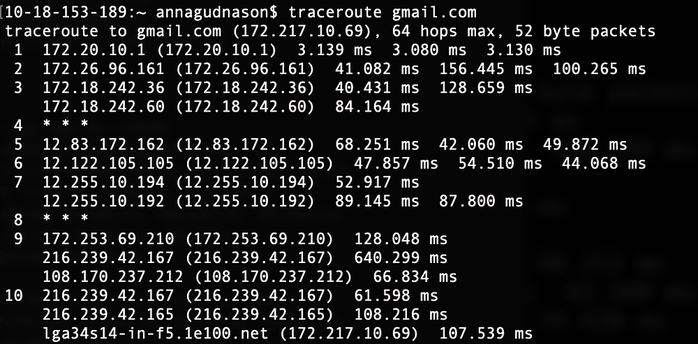 Picture of traceroute using cell hotspot