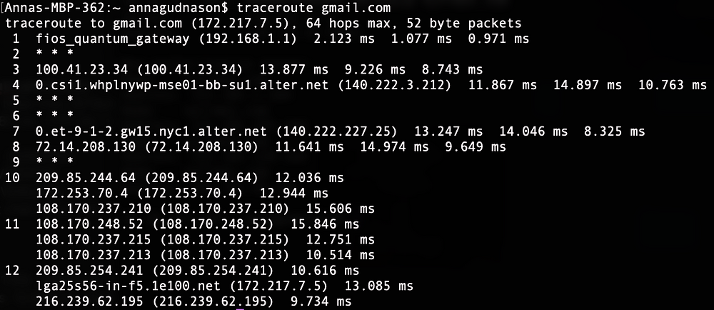 screenshot of traceroute using home wifi at night