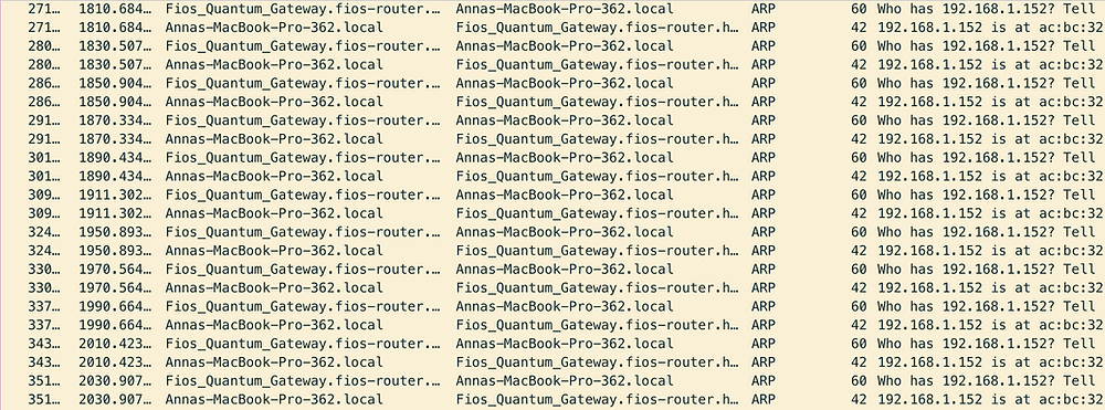 Packet analysis screenshot from wireshark showing ARP requests