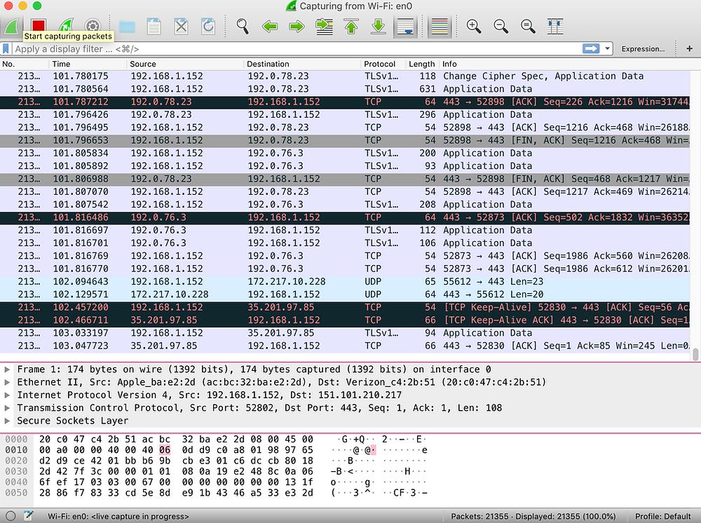 Packet analysis screenshot from wireshark in progress