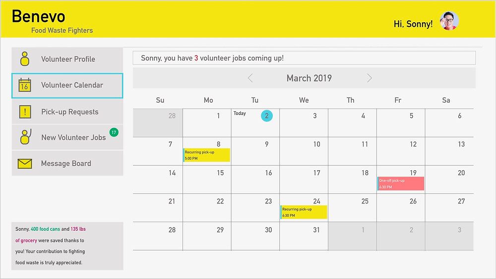 Calendar - Schedule A Volunteer Option Available