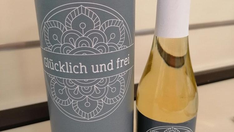 """Prosecco mit Text """"Glücklich und frei"""""""