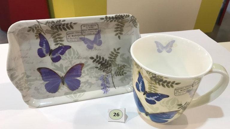 Tasse und Tablett Schmetterling blau