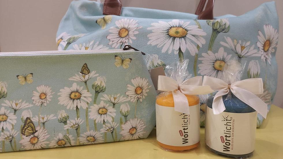 """Tasche """"Gänseblümchen"""" mit Reißverschluss Material: Baumwolle"""
