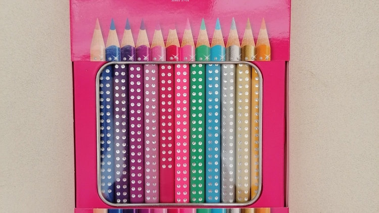 Faber- Castell ,12 brilliante Sparkle Buntstifte im Blechetui