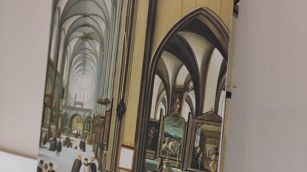 """Notizbuch A5  unliniert & Fadenheftung   """"mittelalterliche Kirche 1585"""" Hendrik"""