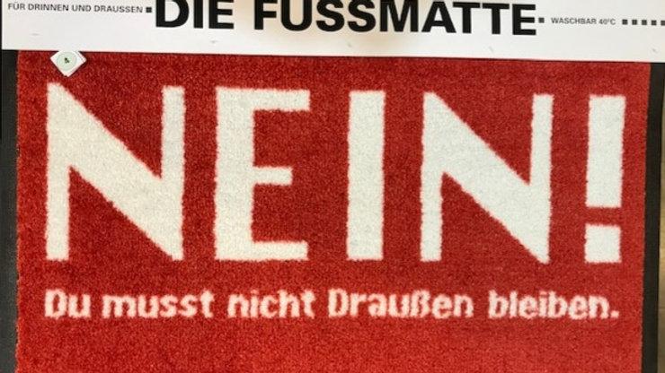 """Fußmatte rot """"NEIN..."""" ca. 50x70 cm, waschbar 40 Grad"""