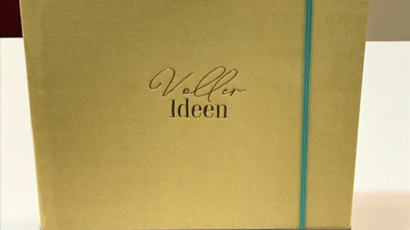 """Notizbuch  """"Voller Ideen"""" Größe 15x22cm, 200 Seiten, Gummizugverschluß"""