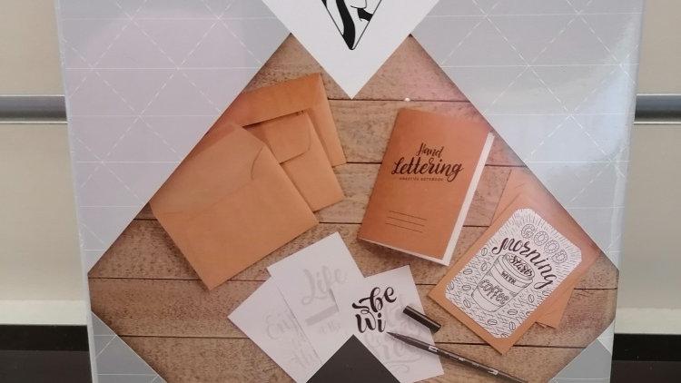 Clairefontaine lettering, Übungsheft, Filzstift Dual brush pen, 4 Karten