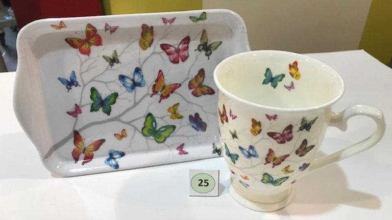 Tasse und Tablett Schmetterling bunt