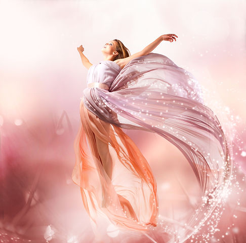 Fairy. Beautiful Girl in Blowing Dress F