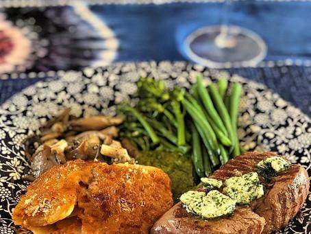 Fillet Steak with garlic butter, Silver Oyster Mushrooms, Cretan Potatoes and Green vegetables