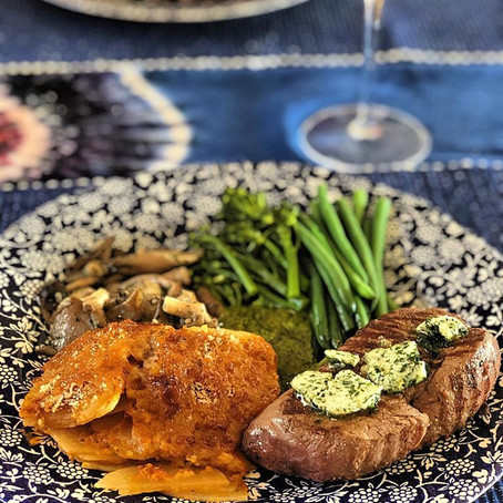 Fillet Steak with garlic butter, Silver Oyster Mushrooms, Cretan Potatoes and Green vegetables