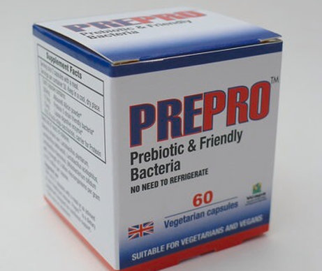 Prepro™, containing Allisure®, multi strain probiotic, digestive enzyme, FOS
