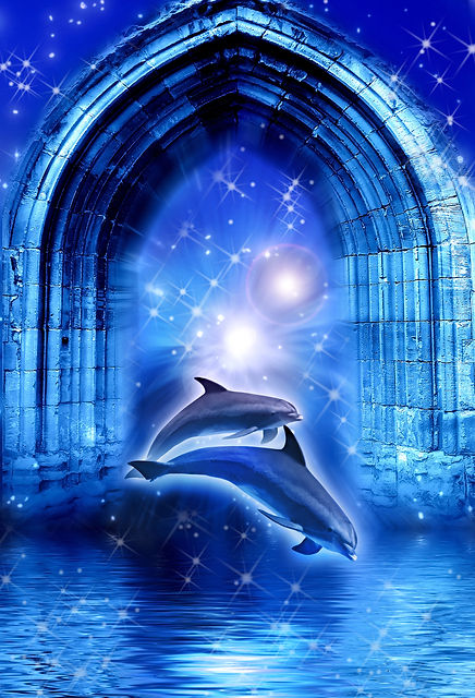 two dolphins in mystical dreamy land wit