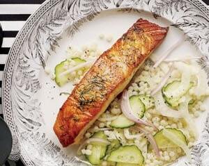 Seared Salmon With Israeli Couscous Salad C/O Realsimple.com