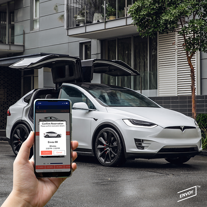 App and Vehicle in background - Model X-