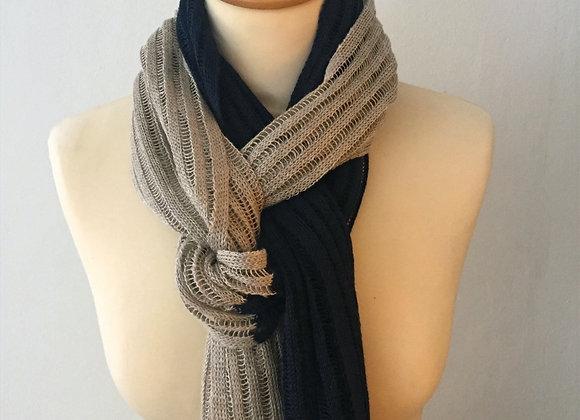 Écharpe tricotée en lin bicolore