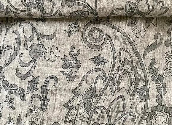 Lin lavé imprimé motif cachemire gris, grège, taupe