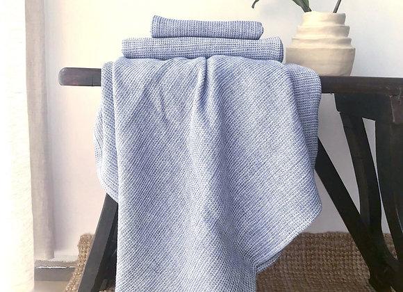 Serviette de bain nid d'abeille - bleu chiné. À partir de...