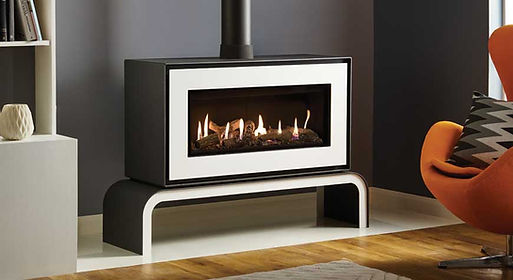 Studio-2-Gas-freestanding-with-White-front-and-matching-bench_log-effect-and-black-reeded-