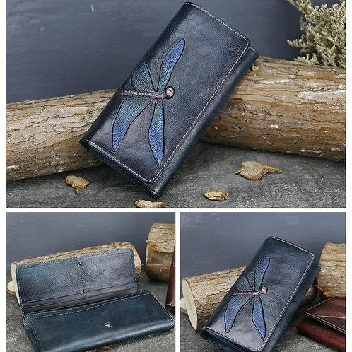 Genuine leather wallet butterfly