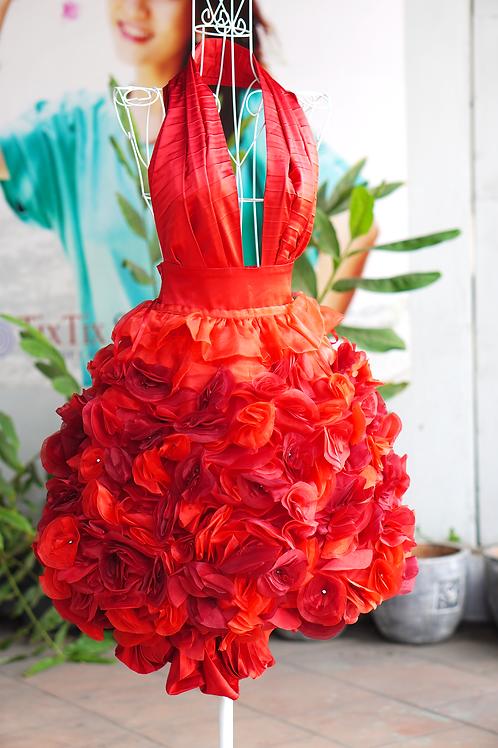 Đầm dạ hội hoa đỏ 2002RFDC