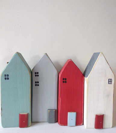 upcycled wooden houses - colourful