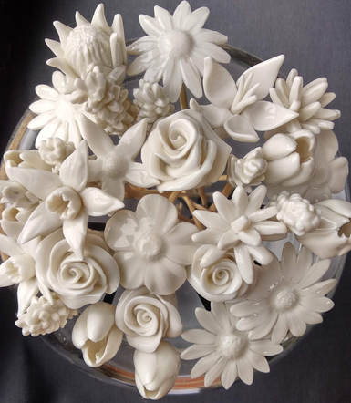 Large Bouquet of Porcelain Flowers in Glass Vase