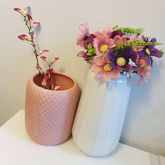 White Pleated Vase