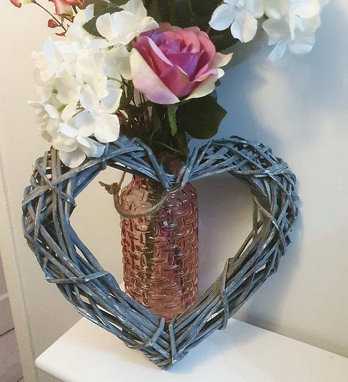 Grey Wicker Rattan Heart 30cm